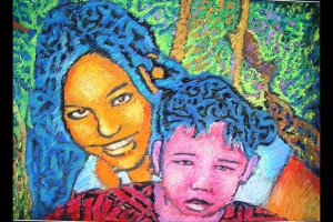Abstract portrait of two girls with a lot of colors, chalk pastels
