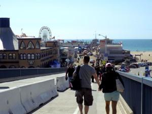Couple walking on santa monica pier