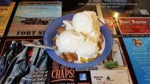 Homemade Peach Cobbler and Ice Cream