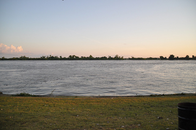 The Fly park in New Orleans sits next to the Mississippi River.